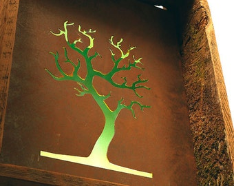 LED wall sculpture lamp. repurposed wood with moss & steel