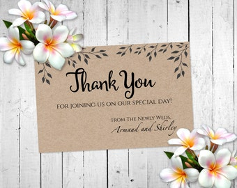 Rustic Wedding Thank You Printable Tree Leaves and Branches Silhouette in Brown Background by MaryAnnColors