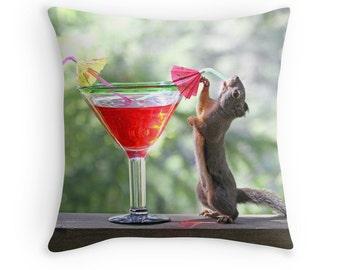 Squirrel Pillow, Birthday Gift, Bar Cushion, Squirrel Cushion, Animal Cushion, Animal Pillow, Animal Decor, Funny Pillow, Cocktail Cushion