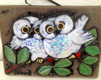 Fine painting with two owls in Ceramics, Ninni E VINTAGE-60 's. Signed