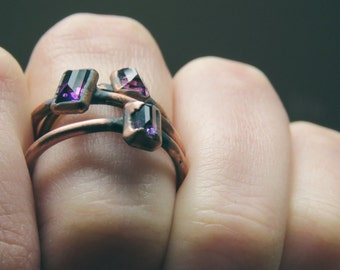 Made to Order Amethyst Ring Electroformed Ring Copper Plated Copper Ring Gemstone Ring