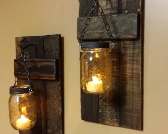 Rustic Wood Candle Holder, Rustic  Decor,   sconces, Mason Jar Decor,Lanterns, Mason Jar hanging candles,  Candle Holders priced 1 each