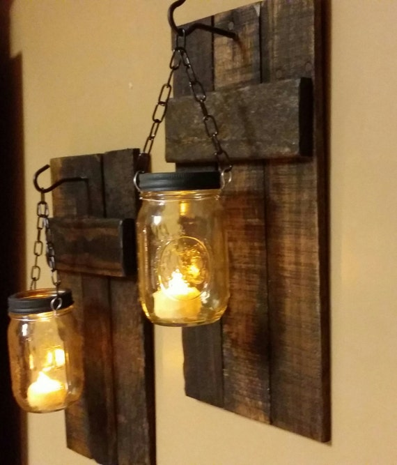 Hanging Wall Sconces With Pictures : Rustic Candle Holder Rustic Decor sconces Hanging