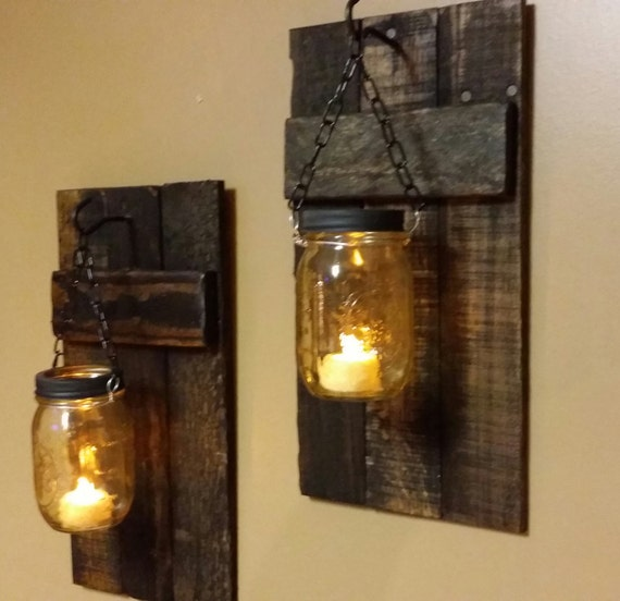 Rustic Wood Candle Holder Rustic Decor Sconces Mason Jar
