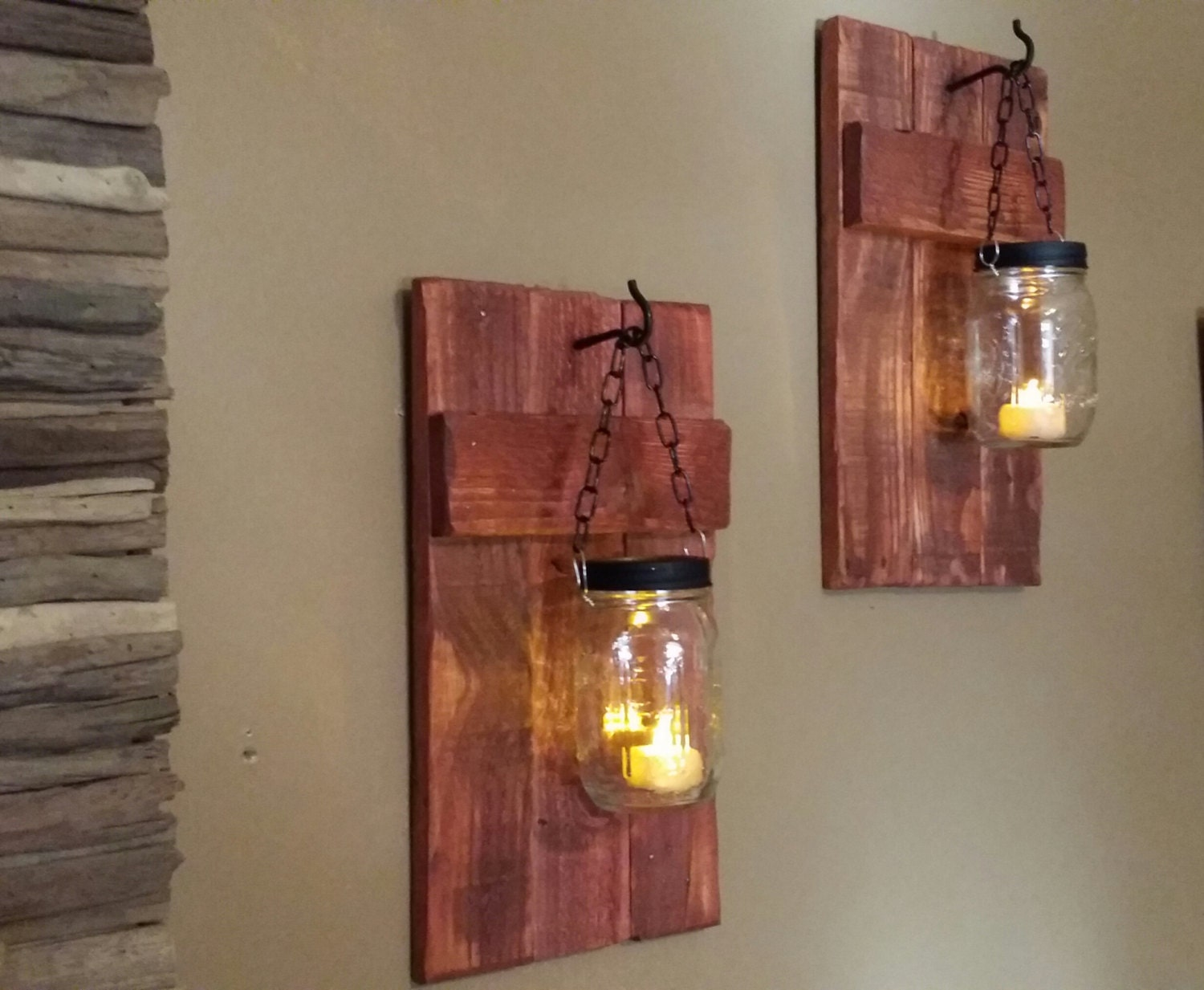 Rustic wood candle holder rustic decor sconce candle for Rustic wood candle holders