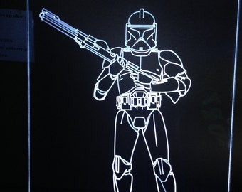 A Clone Trooper  light up sign.