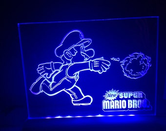 New super mario fireball nintendo  . light up sign illuminated