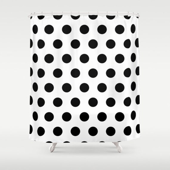 shower curtain black and white polka dot by bellabellashoppe. Black Bedroom Furniture Sets. Home Design Ideas