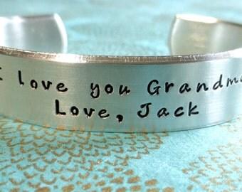 New Grandmother Gift | Grandma Gift | Nana Gift | New Nana |I love you Grandma! Love, (name)Custom Hand Stamped Bracelet by MadeByMishka.com