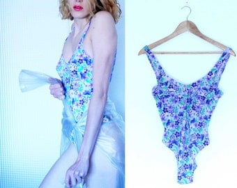Vintage Clothing - Swimsuit backless hippie Flowers