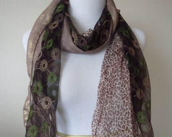 Flower Lace Scarf Combined with Leopard Print Scarf