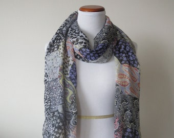 Long Multi Floral Pattern Viscose Scarf Blue