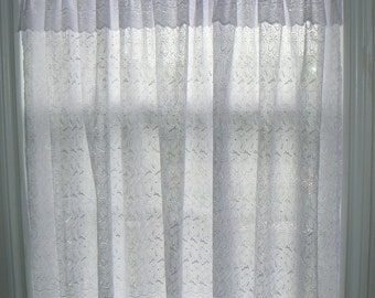 White Eyelet Curtain U0026 Valance Panel, Cotton, Lace, Country Chic, Cottage  Curtain