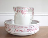 RESERVED***Final Payment***Wash Basin and Pitcher, White Ironstone Pitcher, French Transferware, French Pottery, Creil et Montereau,Pink