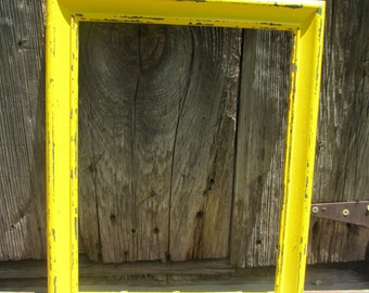 11x13 distressed sunshine yellow picture frame