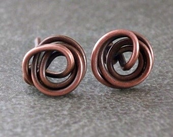 Titanium Knot Earrings Copper Earrings Knot Stud Wire Earrings Wire Wrapped Jewelry Wire Rose Earrings Copper Titanium Earrings Studs Spiral