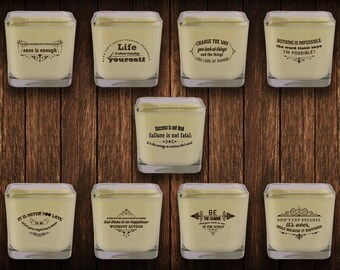 Motivational quotes on candles, Soy candles, Holidays Candles, Hand poured candles, Inspirational Scented Candles