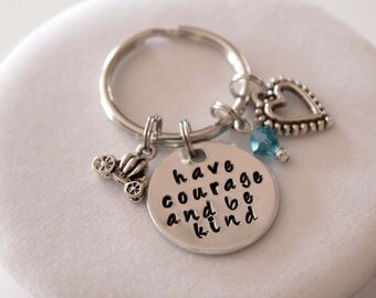 Have Courage and Be Kind-Cinderella inspired keychain-Fairy tale necklace-Cinderella