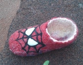 Slippers Spiderman wool felting