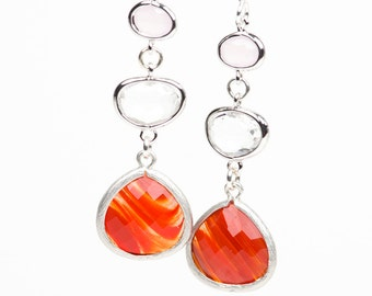 Orange Dangle Earrings, Pink Quartz Drop Earrings, Long Summer Earrings
