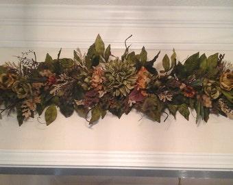 Wall Swag,Tuscan Summer, Fall, Silk Floral, Mantel, Wall, Table, Centerpiece,Table Arrangement, LivingRoom Wreath, Wall Arrangement,  Unique