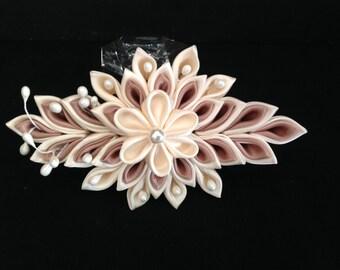 Kanzashi Flower Clip, Tsumami Kanzashi, Ribbon Flower