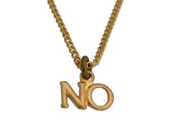 """miniature """"no"""" pendant necklace"""