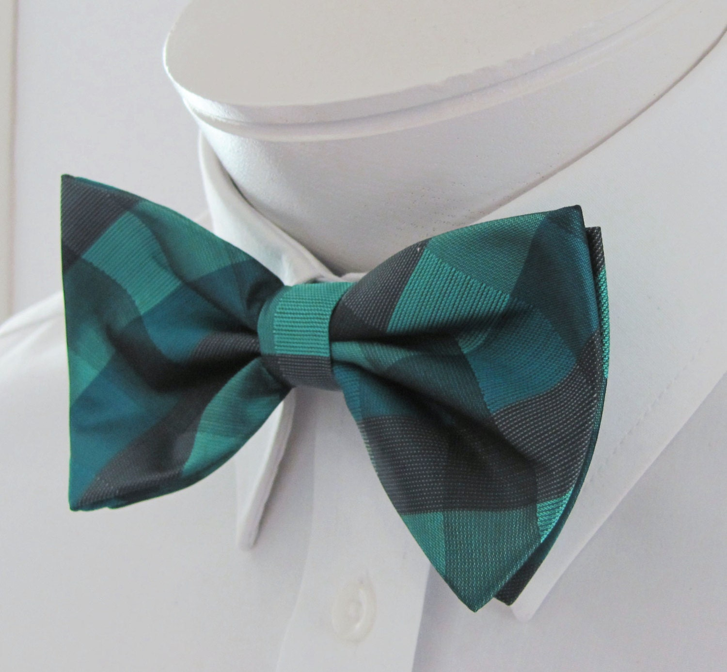 mens bow tie teal green with gray and blue plaid pre bow