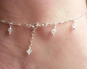 Ankle Bracelet  • Sterling Silver & Swarovski Crystal Sparkling Clear AB Bridal Anklet