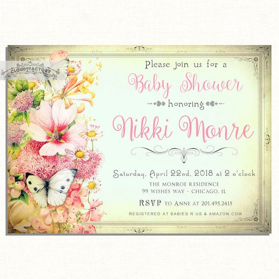 baby shower invitations butterfly spring flowers for a girl, Baby shower invitations