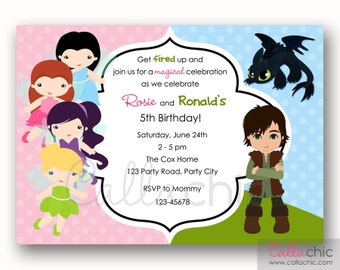 Fairies and How To Train Your Dragon Birthday Invitation PRINTABLE - Twin / Joint Party (Tinkerbell Silvermist Vidia Rosetta Toothless)