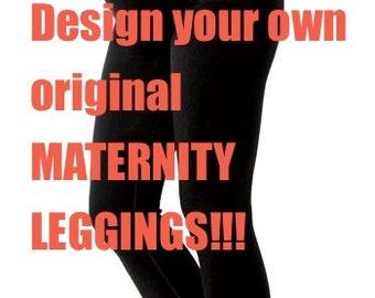 Black maternity leggings - Handmade cotton leggings - Black womens leggings - Womens wear - Yoga pants - Hand printed leggings - Maternity