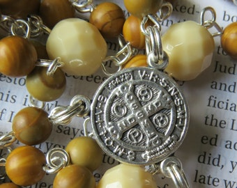 St Benedict Rosary Catholic Rosaries Silver Rosary Saint Confirmation Gift Saint Benedict
