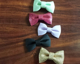 Mini bow tie hair clips