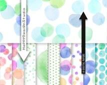 Dots watercolor digital paper pack blue green pink purple colors polka dot circles bubble mermaid party invitation ocean dot random dots set