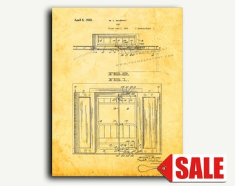 Patent Print - Murphy Bed Patent Wall Art Poster