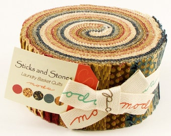 Sticks and Stones Prints Jelly Roll 42210JR by Laundry Basket Quilts for Moda Fabrics.