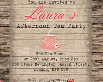 10 x Personalised/Customised Afternoon Tea Party Invitations or Thank you Cards