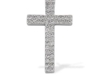 White Austrian Crystal Cross Pendant in Silver-tone