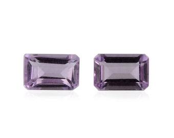Pink Amethyst Octagon Cut Set of 2 Loose Gemstones 1A Quality 6x4mm TGW 0.80 cts.