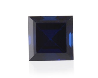 Blue Sapphire Synthetic Lab Created Loose Gemstone Square Cut 1A Quality 5mm TGW 0.75 cts.
