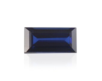 Blue Sapphire Synthetic Lab Created Loose Gemstone Baguette Cut 1A Quality 6x3mm TGW 0.40 cts.