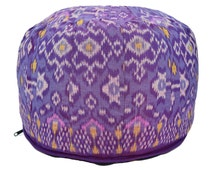 Purple round ikat pouf/floor cushion cover