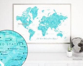 World map push pin etsy printable world map for making a diy push pin map pin your travels aquamarine gumiabroncs Image collections