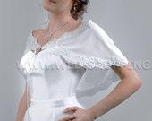 Wedding Cape Stretch Tulle Poncho with Lace E1502 Stole Bolero Wrap Shrug