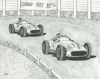 Moss v. Fangio - Rivalry Series Part 2 - Print