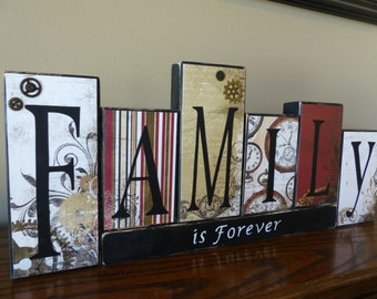 Name blocks home decor home custom saying mantel living room for Living room 7 letters