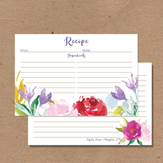 SALE 30 RECIPE CARD Rose Pink Purple Floral cards Wedding Kitchen ...
