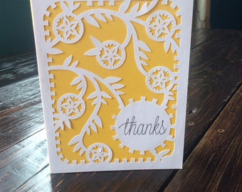 Yellow and White Floral Thank you card
