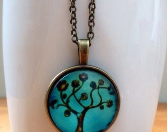 Turquoise antique brass bronze tree of life necklace